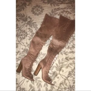 Lace Up Peep Toe Thigh High Boots